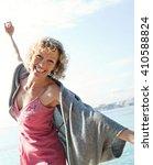 beautiful senior tourist woman...   Shutterstock . vector #410588824