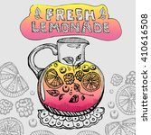 hand drawn poster with lemonade ... | Shutterstock .eps vector #410616508