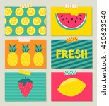 vector set of bright summer... | Shutterstock .eps vector #410623540