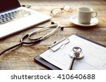 doctor workplace with a... | Shutterstock . vector #410640688