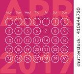 calendar for 2017. april. week...