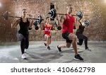 group of young people workout  | Shutterstock . vector #410662798