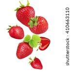 falling ripe strawberries... | Shutterstock . vector #410663110