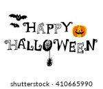 happy halloween text isolated... | Shutterstock .eps vector #410665990
