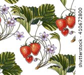 red strawberries. flower... | Shutterstock . vector #410672800