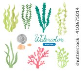 set of watercolor seaweed ...   Shutterstock .eps vector #410675014