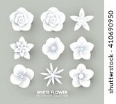white paper flowers set. vector ... | Shutterstock .eps vector #410690950