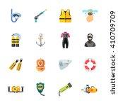 sixteen cute diving icons   Shutterstock . vector #410709709
