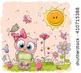 Cute Cartoon Owl On The Meadow...