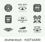set of vintage scuba diving... | Shutterstock .eps vector #410716300