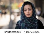 young woman wearing hijab head... | Shutterstock . vector #410728228
