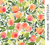 Seamless Pattern With Peaches ...