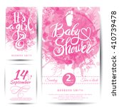 Vector watercolor pink sticker set It's a girl. Calligraphy lettering Baby shower. element for invitation design. | Shutterstock vector #410739478