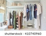 youth cloths hanging in open... | Shutterstock . vector #410740960