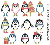 set of penguins in winter.... | Shutterstock . vector #410741110
