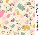 sweet babies doodle seamless... | Shutterstock .eps vector #410774920
