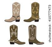 Set Of Cowboy Boots. Color...