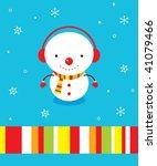 snowman greeting card | Shutterstock .eps vector #41079466