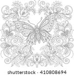 butterfly and floral ornament.... | Shutterstock .eps vector #410808694