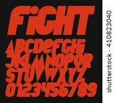 italic dynamic red fight font... | Shutterstock .eps vector #410823040