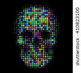 human color skull in halftone... | Shutterstock .eps vector #410823100