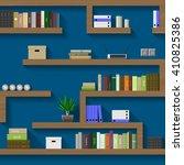 the maze of bookshelves in an... | Shutterstock .eps vector #410825386