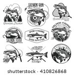 vintage salmon fishing emblems  ... | Shutterstock .eps vector #410826868