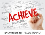 Small photo of Hand writing ACHIEVE with marker, business concept background