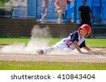 youth baseball player sliding... | Shutterstock . vector #410843404