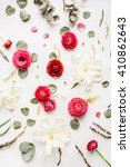 pattern with pink and red roses ... | Shutterstock . vector #410862643