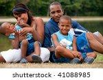 happy black family enjoying...   Shutterstock . vector #41088985
