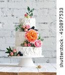 white wedding cake with flowers ... | Shutterstock . vector #410897533