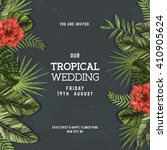 tropical palm leaves. wedding... | Shutterstock .eps vector #410905624