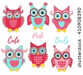 Cute Pink Owls Vector Set....