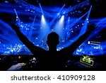 dj hands up at night club party ... | Shutterstock . vector #410909128