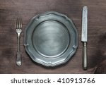 Vintage Pewter Plate  Fork And...
