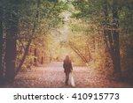 Sad Lonely Woman Walking Away...