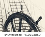 ancient ship with captain wheel ... | Shutterstock . vector #410923060
