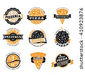 pizza logo slice pizzeria icon... | Shutterstock .eps vector #410923876