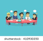 meeting and discussion briefing.... | Shutterstock .eps vector #410930350