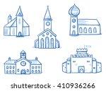 set of different buildings ... | Shutterstock .eps vector #410936266