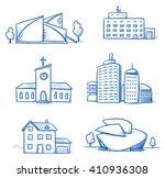 set of different buildings ... | Shutterstock .eps vector #410936308