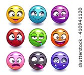 funny colorful round faces set  ...