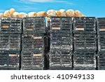 Stack Of Plastic Crab Traps And ...