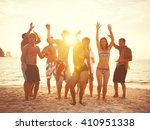 group of people party on the... | Shutterstock . vector #410951338