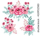set of watercolor bouquets with ... | Shutterstock . vector #410952583