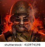 angry american soldier war face ...   Shutterstock . vector #410974198