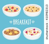 hand drawn breakfast bowl set.... | Shutterstock .eps vector #410982313