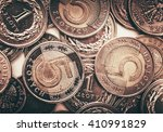Polish Currency Coins. Five and One Zloty Coins Closeup Photo. - stock photo