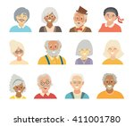 old people icons vector set.... | Shutterstock .eps vector #411001780